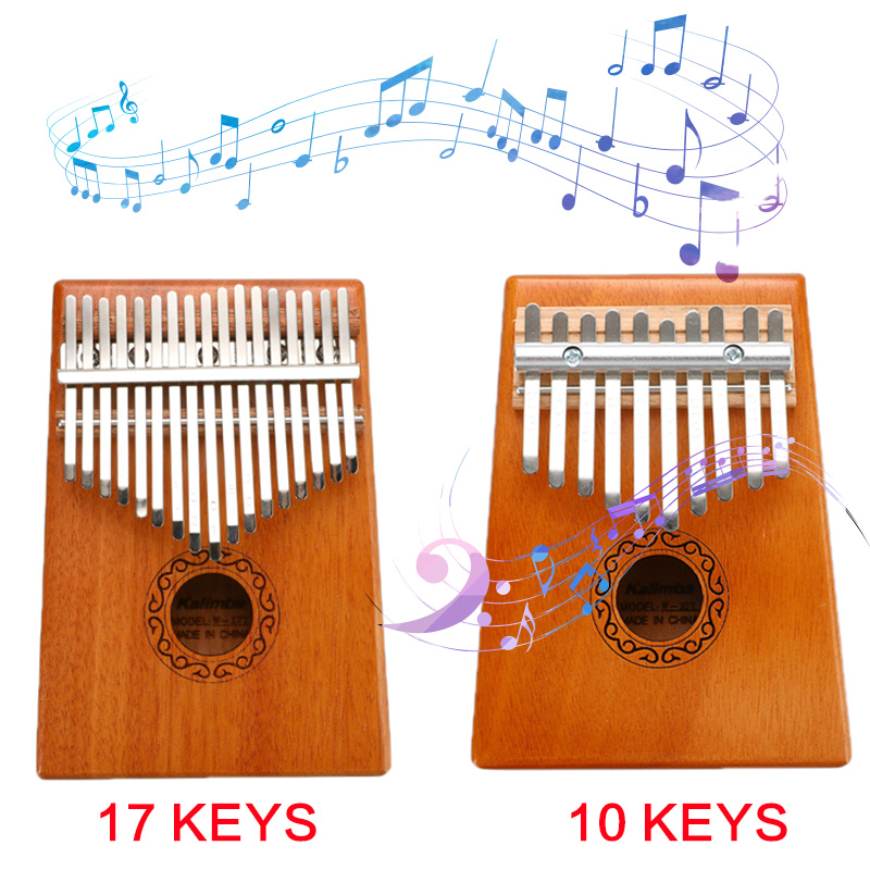 Portable 10/17 Keys Kalimba Thumb Piano Mahogany Body Musical Instrument Solid Wood Kalimba Mbira Thumb Paino