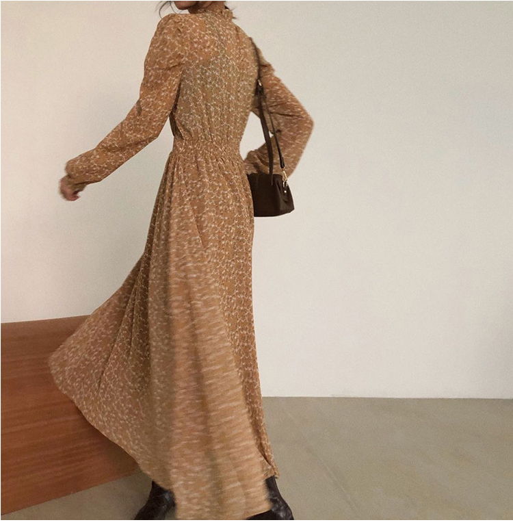 Hfa4aa096819e4364809bc7e6eac47750o - Autumn Stand Collar Long Sleeves Waist-Controlled Floral Print Maxi Dress