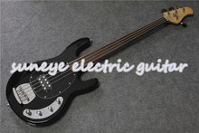 New Arrival Black Glossy Electric Bass Guitar 4 String Music Man String Ray Style Electric Bass Guitar Fretless Bass Guitar new china firehawk oem shop electric bass guitar 5 string bass active neck through body color can be changed ems free shipping