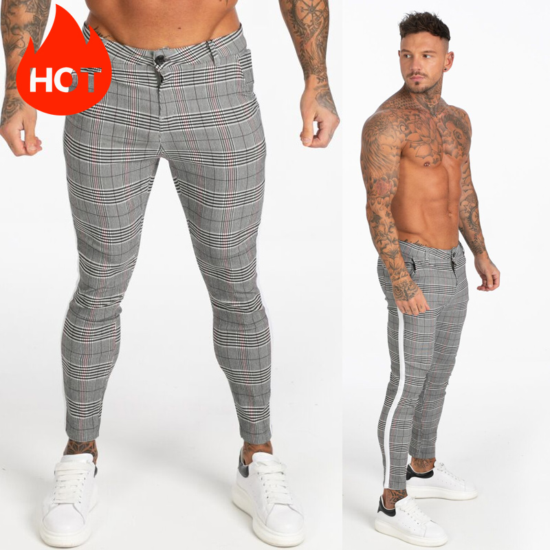 GINGTTO Mens Pants Casual Mens Trousers Skinny Super Stretch Mens Chinos Pants Slim Fit Mens Casual Pant Plaid Elastic Waist
