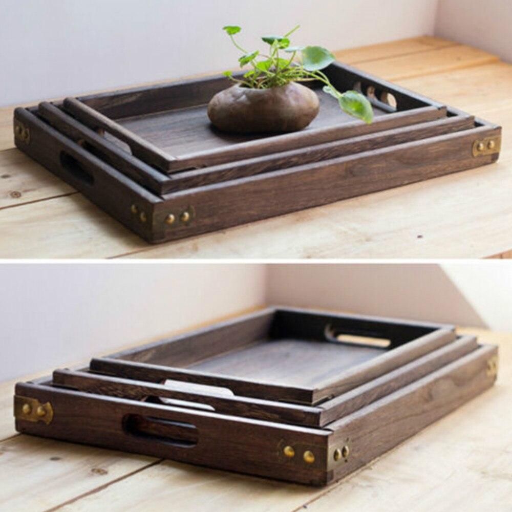 Прямоугольные ретро-подносы для хранения, деревянный поддон, гостиничный десертный ужин, посуда для чая, сервировочный поднос, домашний кухонный инструмент, 1 шт.-3