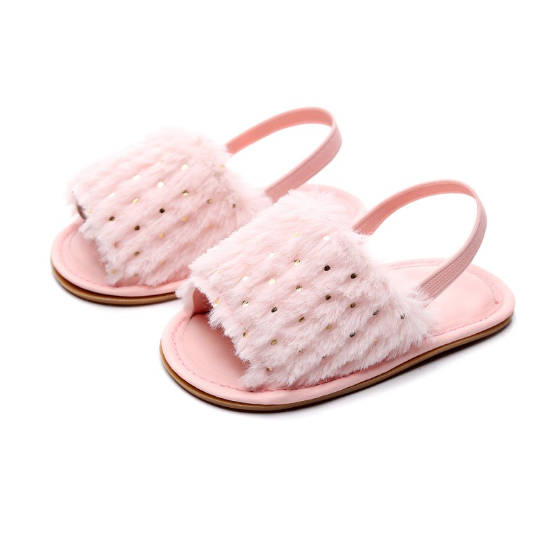 Simple Elastic Sandals Summer Fall Soft Hair Style Classic Baby Girl Slipper Indoor Sandals Breathable Baby Fur Shoes