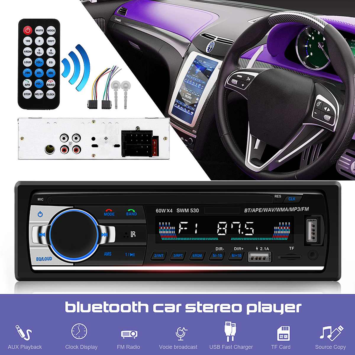 JSD-520 bluetooth Car Radio Stereo Head Unit Car MP3 Multimedia Player Hands-free With Remote Control AUX SD FM image