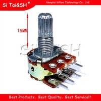 5pcs WH148 B1K B2K B5K B10K B20K B50K B100K B500K 6Pin eje de 15mm amplificador estéreo Dual potenciómetro 1K 2K 5K 10K 50K 100K 500K