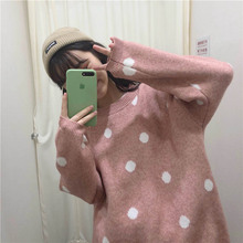 Autumn Winter Women Sweaters Korean Style Long Sleeve Thicken Solid Sweater Dots Printed Casual Loose Pullovers Knitted