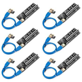 6pcs Newest 009S PLUS USB 3.0 PCI-E Riser VER009 Express 1X 4x 8x 16x Extender pcie Riser Adapter Card SATA 15pin to 6 pin 1