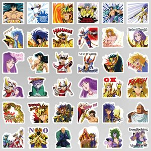 Image 4 - 40 Pcs/set Anime Saint Seiya Series Cartoon Notebook Stickers Paper  Hand book DIY Decoration Stickers