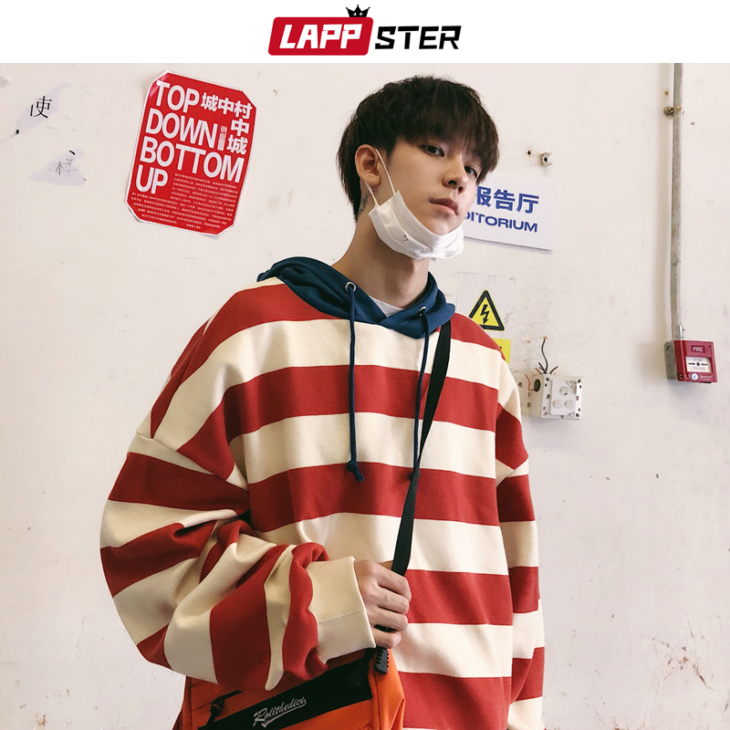 LAPPSTER Men Striped Hooded Hoodies Oversized 2019 Autumn Korean Fashion Mens Japanese Streetwear Sweatshirts Harajuku Hoodie