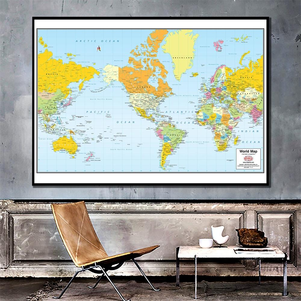 60x90cm The World Physical Map  HD Mercator Projection World Map Canvas Spray Painting For Wall Decor