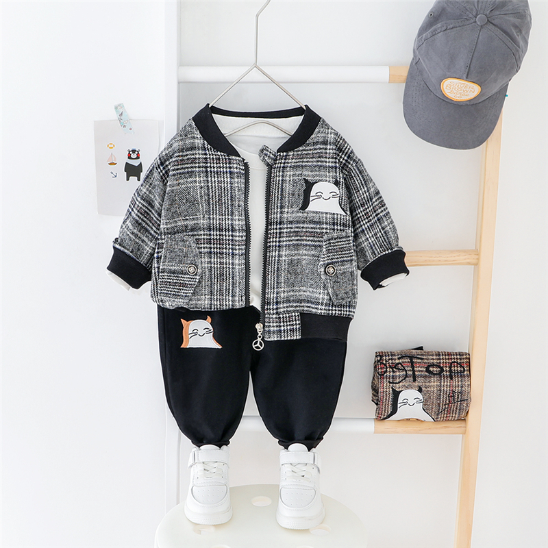 HYLKIDHUOSE 2020 Spring Baby Boys Clothing Sets Cartoon Plaid Coats Pants Toddler Infant Clothes Sets Children Outdoor Costume