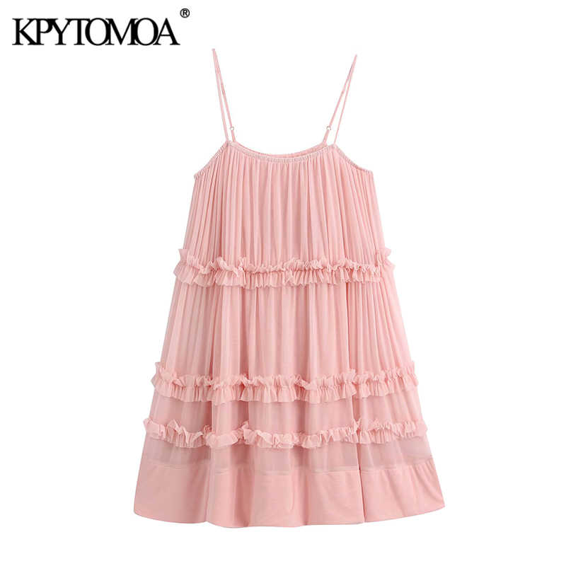 KPYTOMOA Women 2020 Sweet Fashion Ruffled Mini Dress Vintage Sleevless Backless Spaghetti Strap Female Dresses Vestidos Mujer