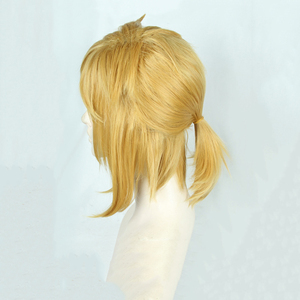 Image 3 - 젤다의 전설: 와일드 링크의 숨결 짧은 황금 금발 조랑말 꼬리 머리 코스프레 의상 가발 내열성 섬유 + 귀