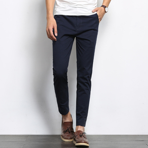 Image 3 - BROWON Autumn Men Fashions Solid Color Casual Pants Men Straight Slight Elastic Ankle Length High Quality Formal Trousers Men
