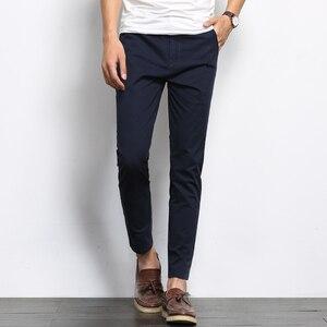 Image 3 - BROWON סתיו אופנת גברים מוצק צבע מכנסי קזואל גברים ישר קל אלסטי קרסול אורך רשמית באיכות גבוהה מכנסיים גברים