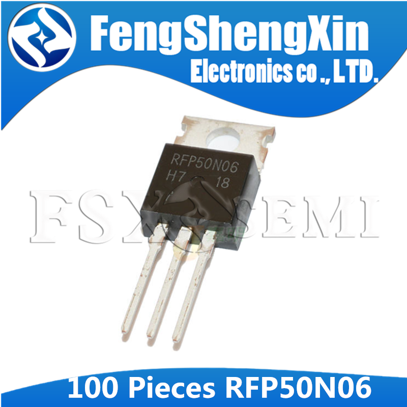 100pcs RFP50N06 TO-220 P50N06 TO220 50N06 50A, 60V, <font><b>0.022</b></font> Ohm, N-Channel Power MOSFETs image
