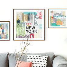 New York Parijs Londen Rome Stad Landschap Wall Art Canvas Schilderij Nordic Posters En Prints Muur Pictures Baby Kinderkamer decor(China)