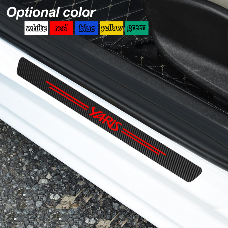 4pcs Auto Outer Door Sill Protector Pedal Scuff Plate Carbon Fiber Stickers For For Toyota Yaris 2013 -2016 Yaris L 2017 -2019