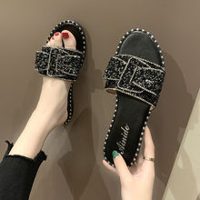 Sexy glitter slippers ladies brand rhinestone slides women flat black 2020 new arrival