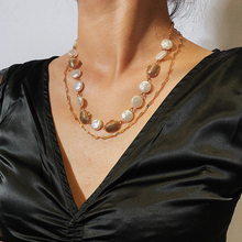 Boho Double Layer Pearl  Long Necklace Elegant Baroque Chain Handmade Metal Shell Jewelry New Personalized Necklaces