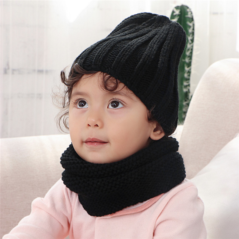Multicolor Knitted Hat And Scarf For Children Solid Acrylic Kids Hat With A Scarf Girls Boy Hats Scarves Set Winter Accessories