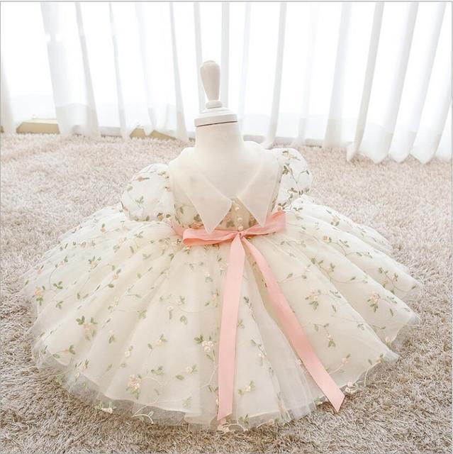 Nowe dziecko dzieci Tollder chrzest 1 urodziny dziewczyny kwiecista koronka ślub księżniczka Party sukienka do chrztu dzieci sukienki świąteczne