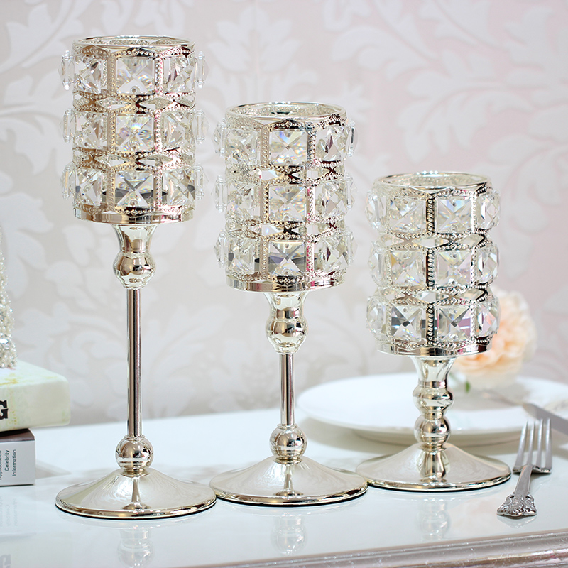 Crystal Candlestick Luxury High Quality Silver Wedding  Candle Holder r Handmade Home Decorative 50XX002
