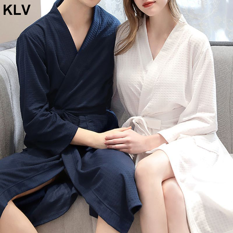 Men Womens Autumn Waffle Knitted Kimono Bath Robe V-Neck Belted Waist Water Absorbent SPA Loose Long Sleepwear With Pockets