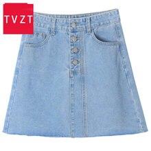 Женская джинсовая юбка трапециевидной формы с высокой талией
