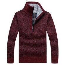 Осенний мужской толстый теплый вязаный пуловер с длинным рукавом, свитер с воротником под горло, шерстяное флисовое зимнее пальто на молнии, удобная одежда