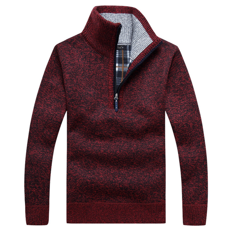 Autumn Men's Thick Warm Knitted Pullover Solid Long Sleeve Turtleneck Sweaters Half Zip Warm Fleece Winter Coat Comfy Clothing