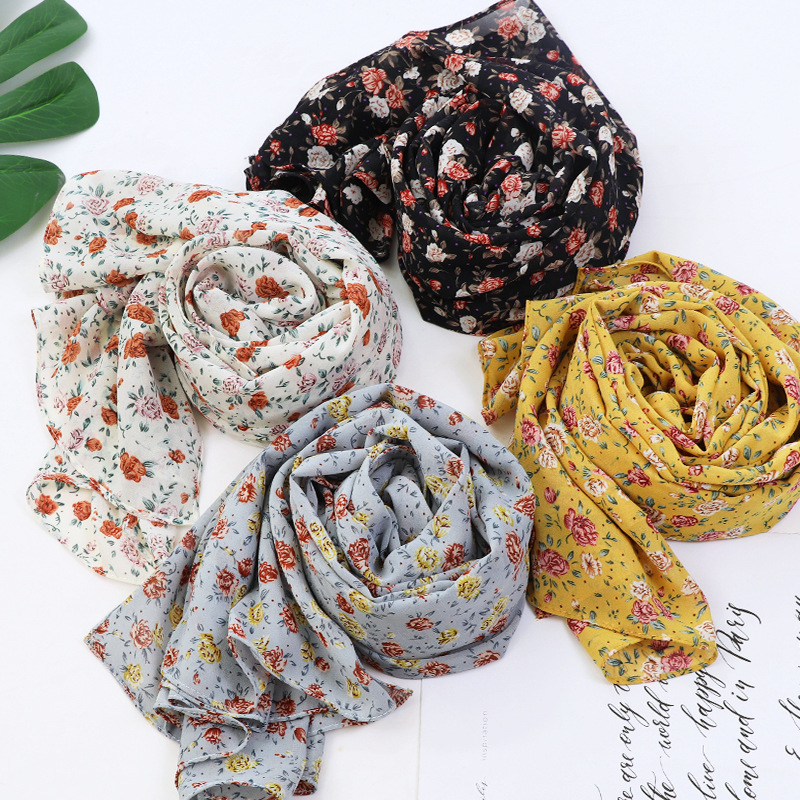 2020 fashion women bubble chiffon hijab scarf foulard femme musulman printed shawl islamic clothing headwear muslim