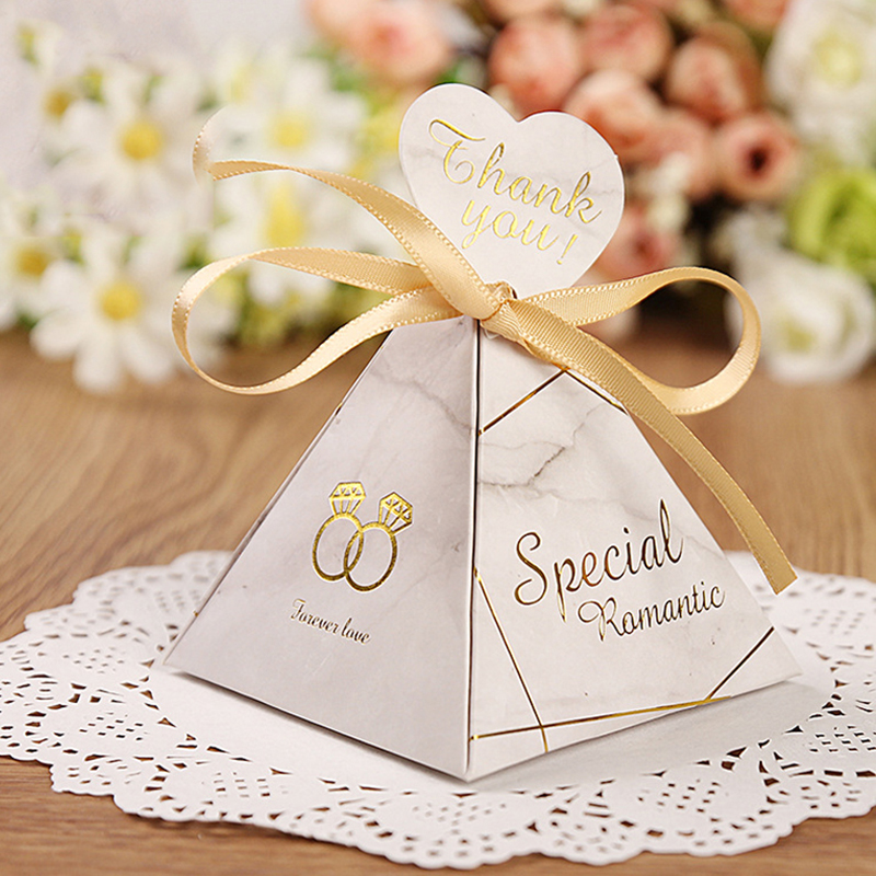 Triangular Pyramid Marble Candy Box Wedding Favors And Gifts Boxes Chocolate Box For Guests Giveaways Boxes Party Supplies