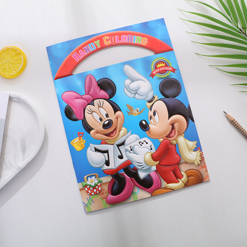 Disney Cartoon Coloring Book Mickey Minnie Graffiti Spiderman Frozen Baby Puzzle Picture Book Mickey Mouse Painting Supplies