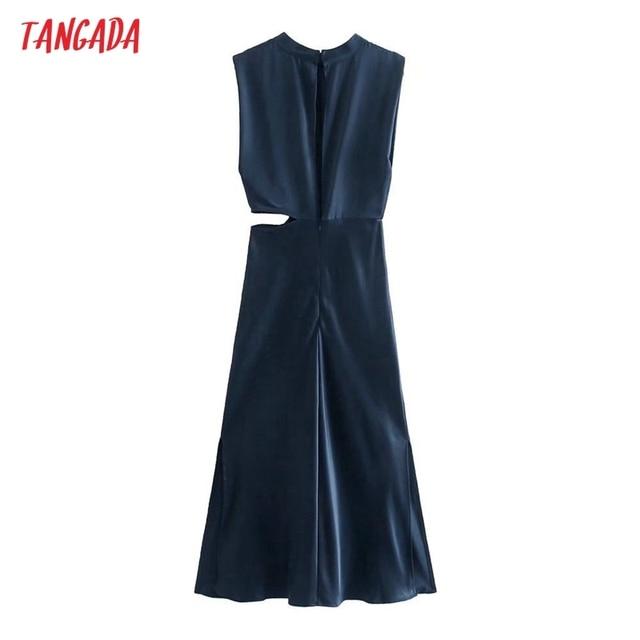 Tangada Women Cut-out Sexy Dress Sleeveless Backless 2021 Fashion Lady Party Midi Dresses 3H850 6