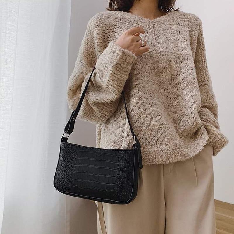 Retro Crocodile Pattern Shoulder Messenger Bags For Women Ladies Vintage Handbags Casual Solid Shoulder Bags New Crossbody Bag