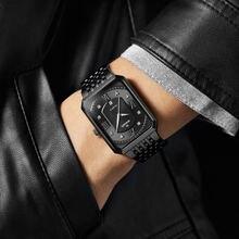 Swish 2020 мужские прямоугольные наручные часы черные повседневные