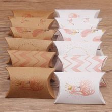 Feiluan store 10pcs packaging boxes paper pillow gift chocolate candy box white /brown color Cookies birthday jewelry wedding(China)