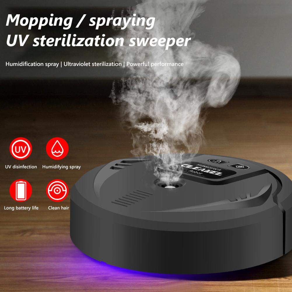 Smart Rechargeable Auto Sweeping Robot UV Disinfection Diffuser Strong Suction USB Charging Cordless Cleaning Robot Sweeper