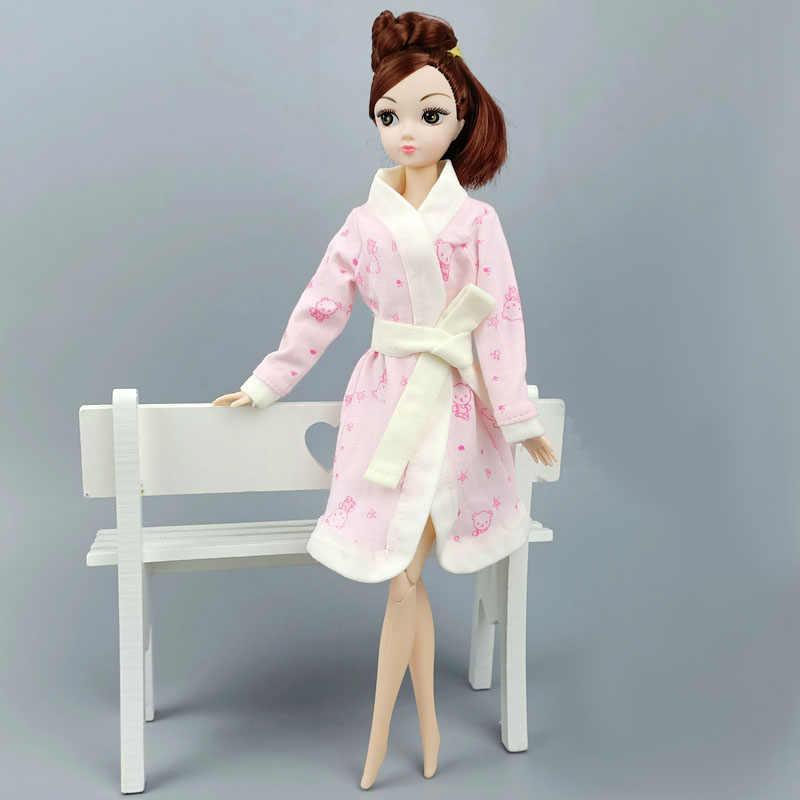 ורוד ארנב חלוק עבור ברבי בובת אמבטיה חליפת חורף פיג 'מה ללבוש שינה מזדמן בגדים עבור ברבי תיאטרון צעצועי מתנות