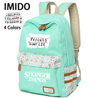 IMIDO Letter Backpacks Girls Stranger Things Candy Color School Bag Students Back to School Shoulders Backpacks Casual Bags