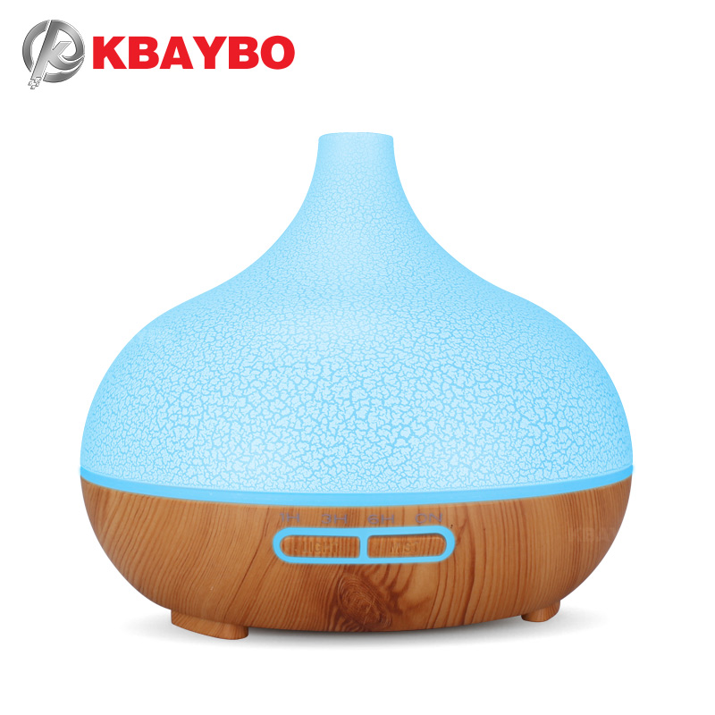 KBAYBO 400ml Air Humidifier With Creative Crackle Light Wood Oil Diffuser Ultrasonic Diffusers 7 Changeable LED Colors For Home