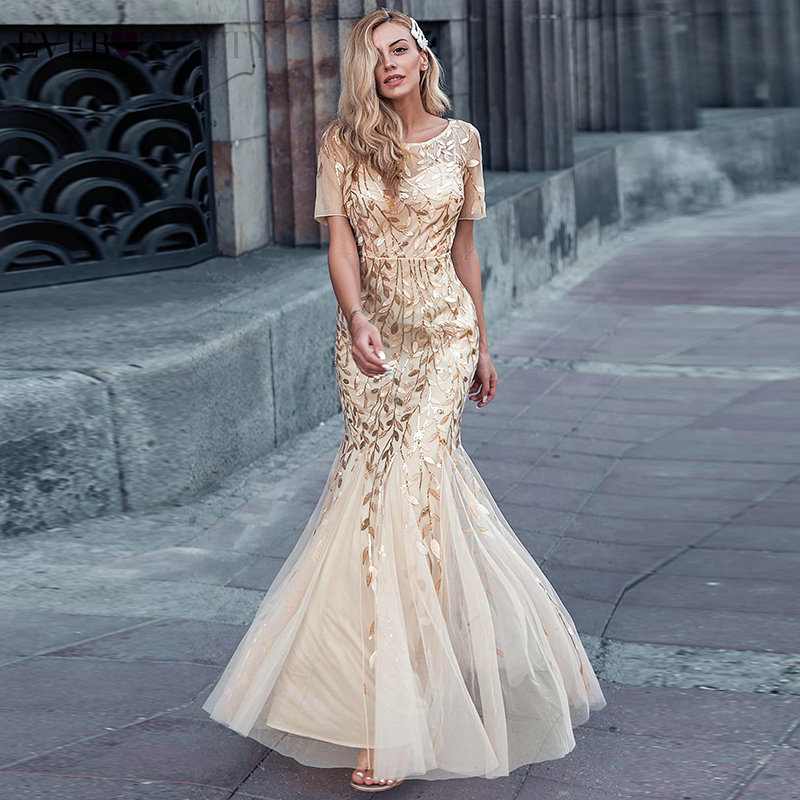 Elegant Lace Prom Dresses Long Ever Pretty Sequined Mermaid Saudi Arabian Clothing 2020 Sexy Gold Formal Evening Party Gowns