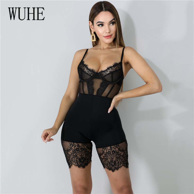 Hfa4d3df09a8a41dea27162c6a3e43006B - WUHE Lace Patchwork Sexy Spaghetti Strap Jumpsuits Women Off Shoulder Sleeveless Elegant Bodycon Bandage Party Short Playsuits