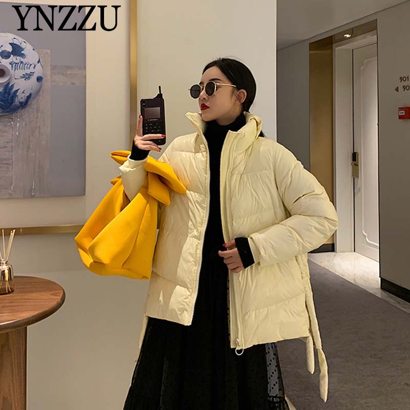 Women Oversize Down Jacket Short 2019 Winter Thick Warm Long Sleeve Down Coat Fashion Hooded Female Outwear Casual YNZZU 9O059