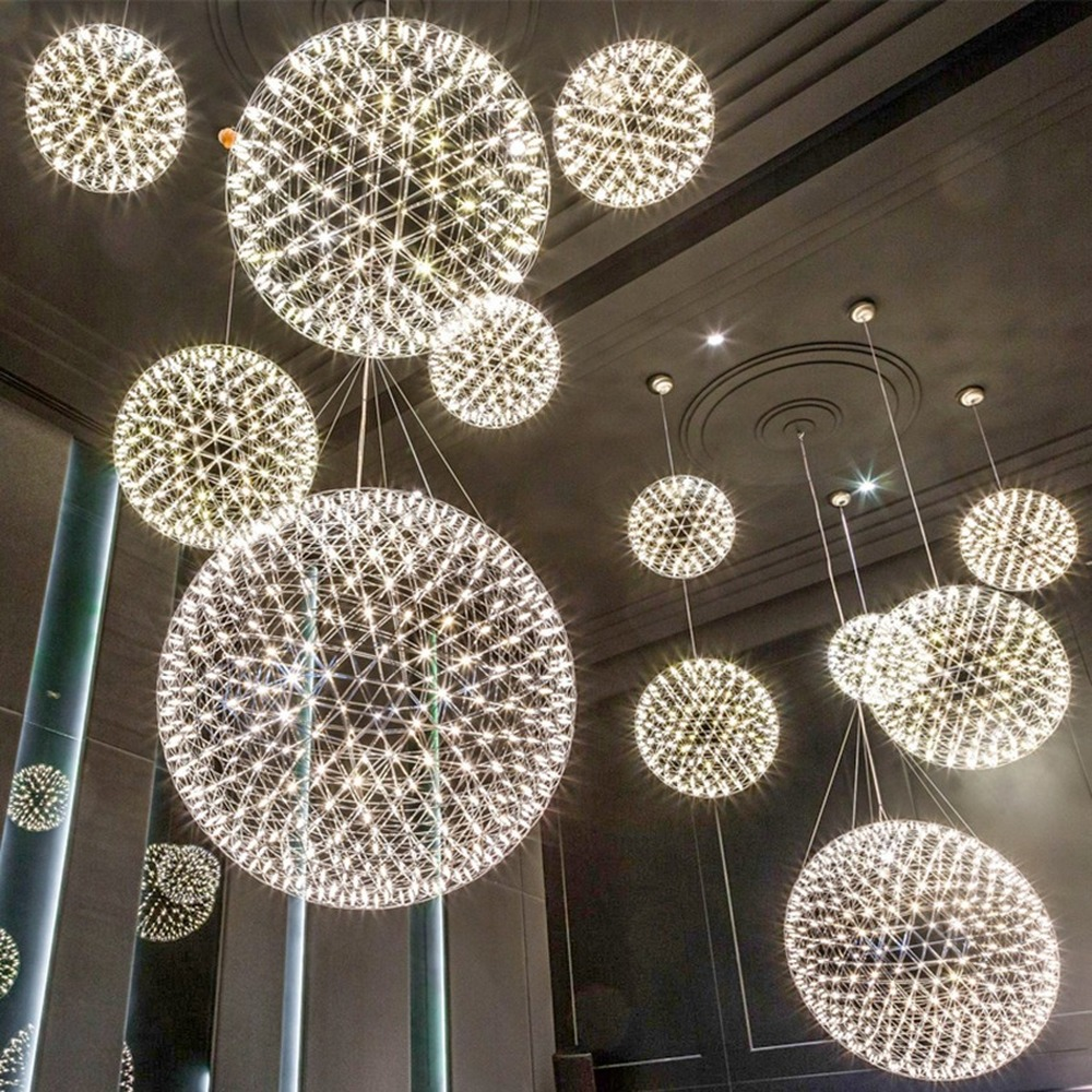 Stainless Steel LED Pendant Lights Sparking Ball Hanging Lamp Lighting Fixtures Hotel Lobby Suspension Luminaire Home Decor