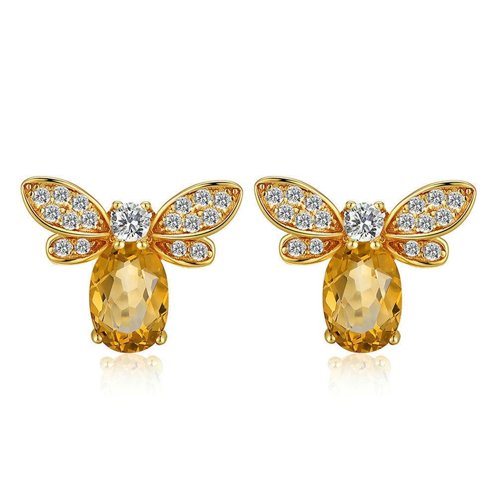 S925 pur argent boucle d'oreille bijoux pour les femmes pierre gemme naturelle pierre 925 argent boucles d'oreilles abeille 14K or boucles d'oreilles bijoux de mariage