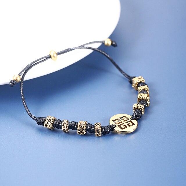 Фото новый плетеный веревочный мужской браслет геометрический ретро цена