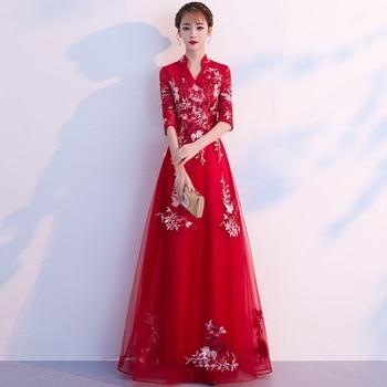 Chinese style toast clothing bride 2019 winter red long Chinese retro wedding princess dress skirt back door Evening Dress skirt