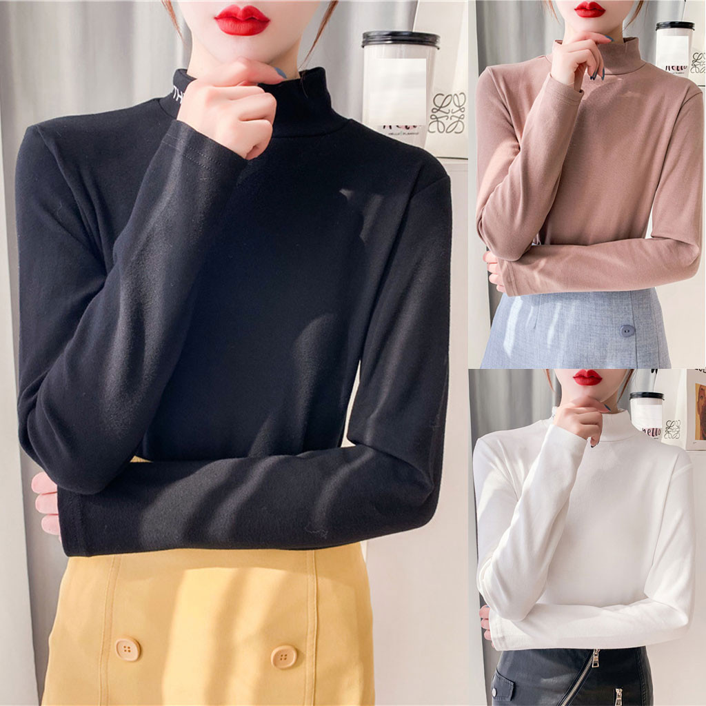 Tshirt Women Fashion Turtleneck Long Sleeve Slim Fit Long Sleeve T-shirt Tops Poleras Camiseta Mujer Top Women Harajuku T Shirt
