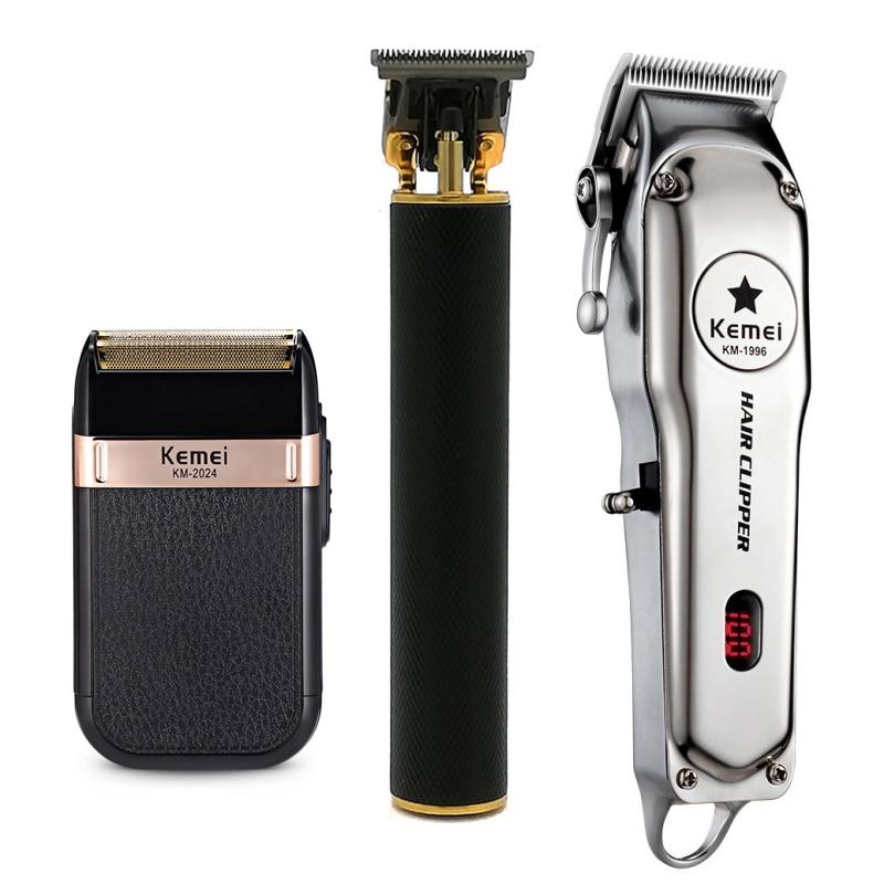 Kemei All Metal Professional Electric Hair Clipper Rechargeable Hair Trimmer Haircut Shaving Machine KM-2024/1996/1971B